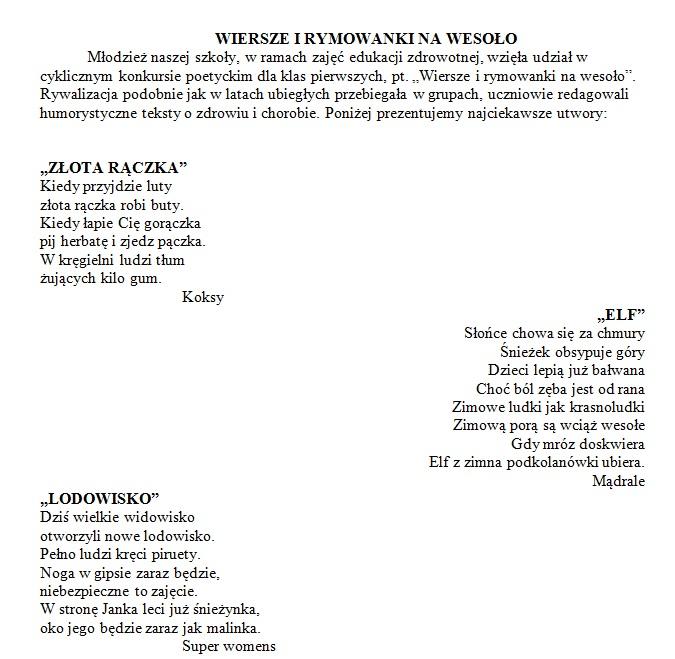 Wierszyki 2105 Zespół Szkół Nr 2 Im Aleksandra